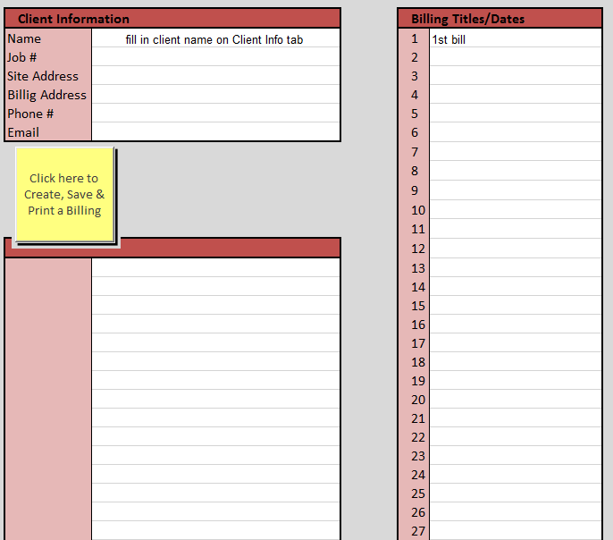 Construction Client Info -  Excel Sheet