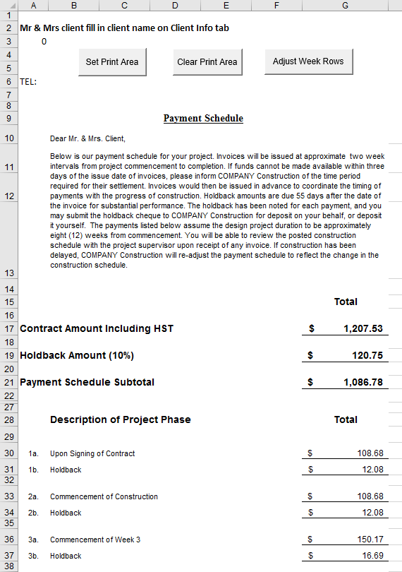 Construction Payment Excel Sheet