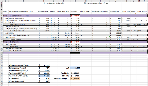 Construction Estimating - Project Summary in Excel Spreadsheets