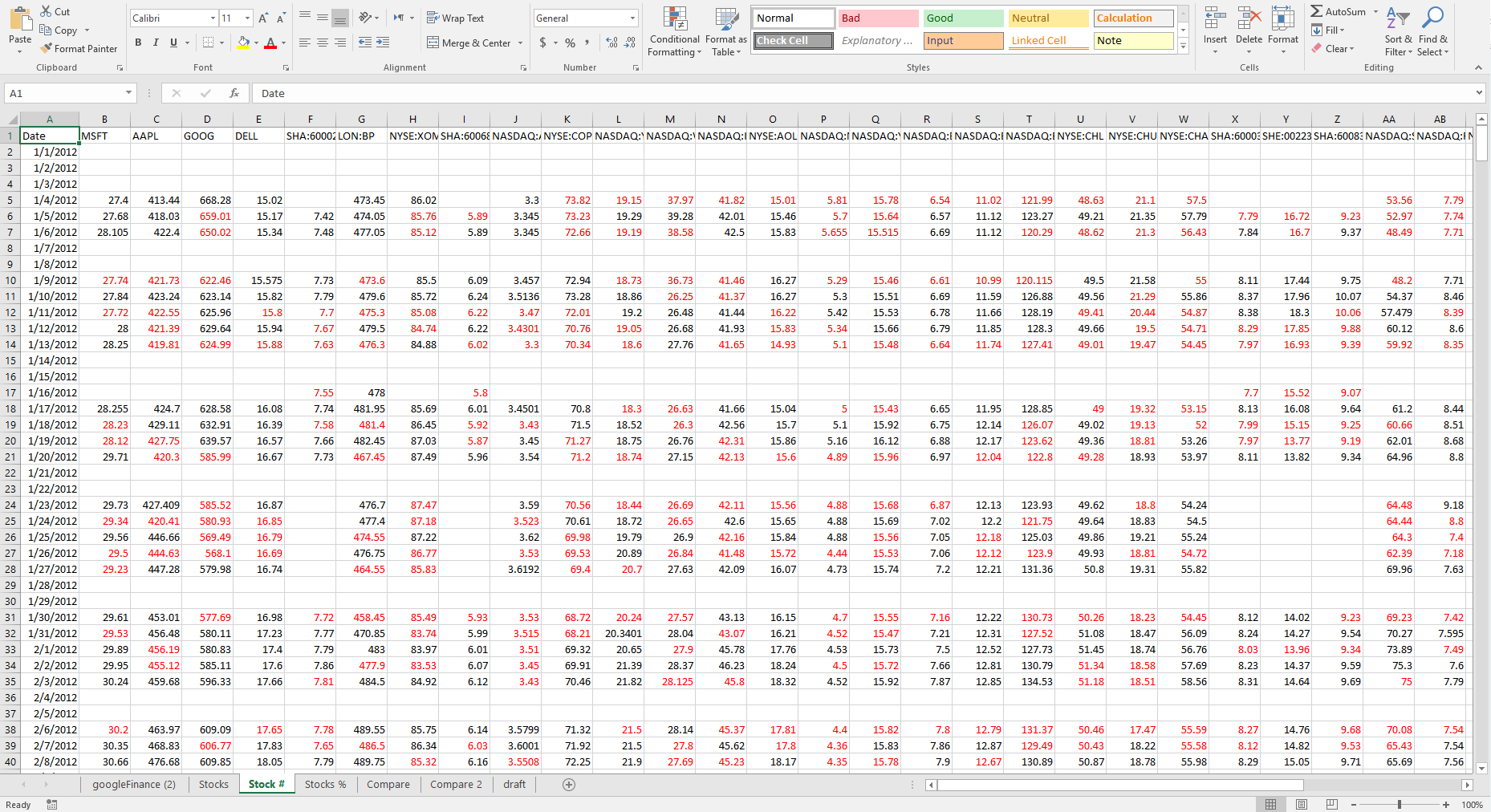 Comparing Stocks in Microsoft Excel